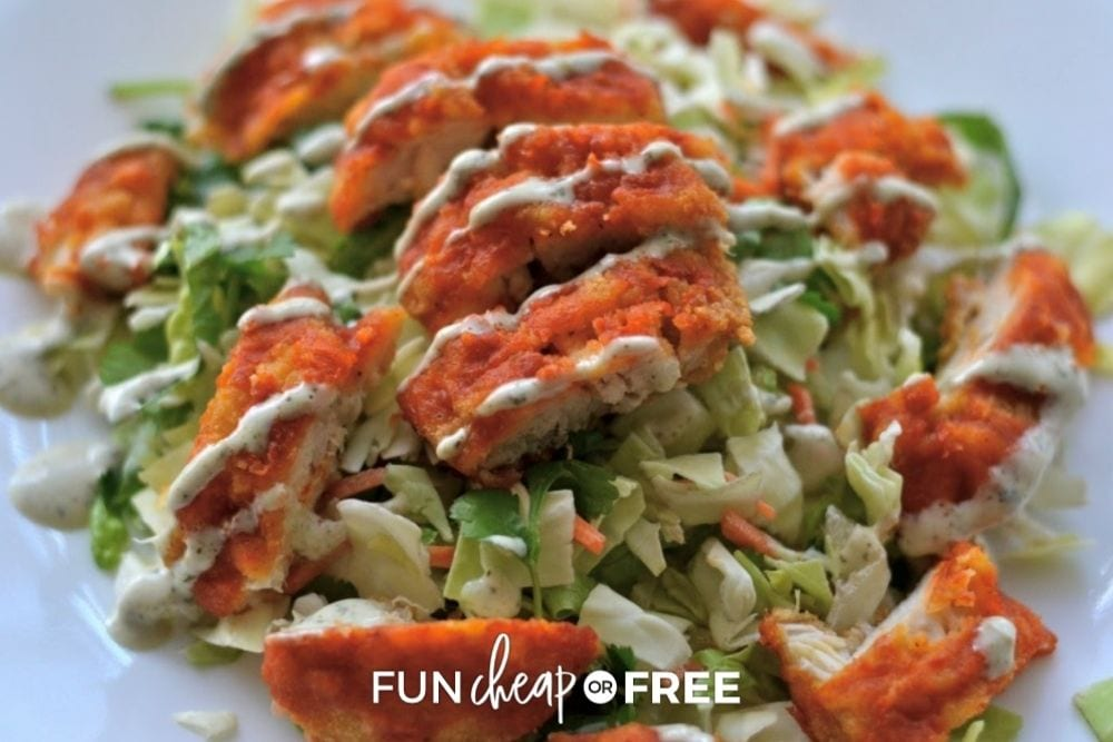 salad with buffalo chicken on top, from Fun Cheap or Free