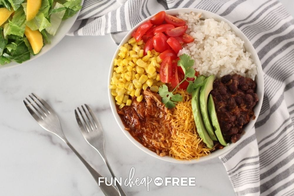 slow cooker pulled pork dinner bowl, from Fun Cheap or Free