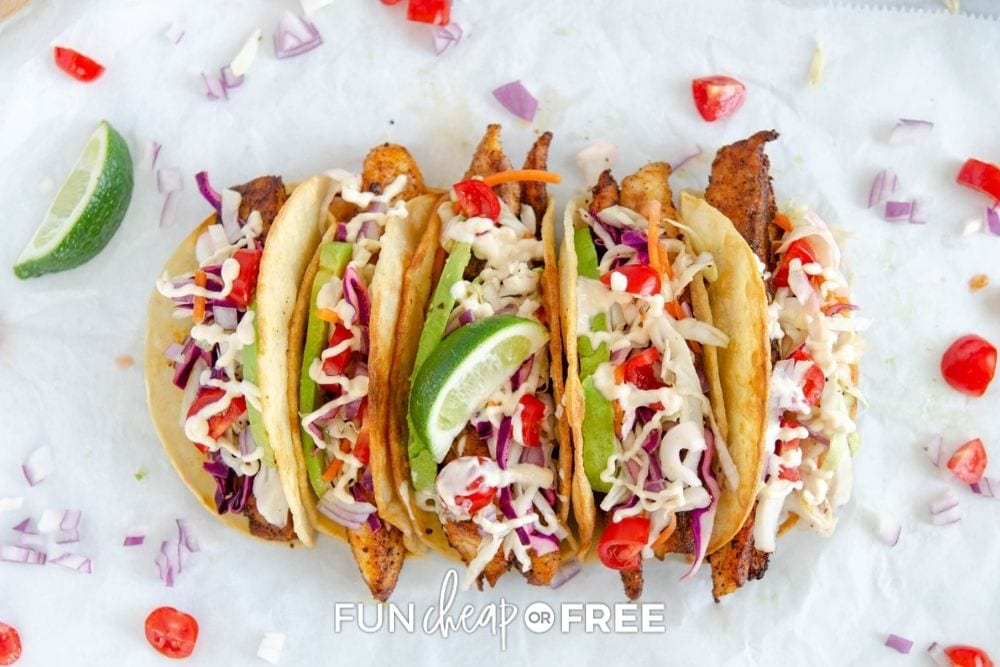 colorful fish tacos, from Fun Cheap or Free