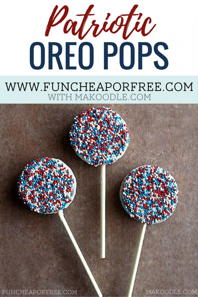 4th of July Oreo pops make the best BBQ dessert for your holiday party! Get the easy recipe at www.funcheaporfree.com