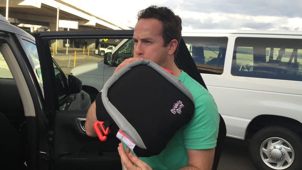 Inflatable booster seat! Folds up into a suitcase for travel, and fits between 2 other carseats easily. Loads of other awesome baby gadgets!