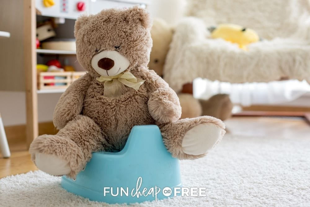 teddy bear on training potty, from Fun Cheap or Free