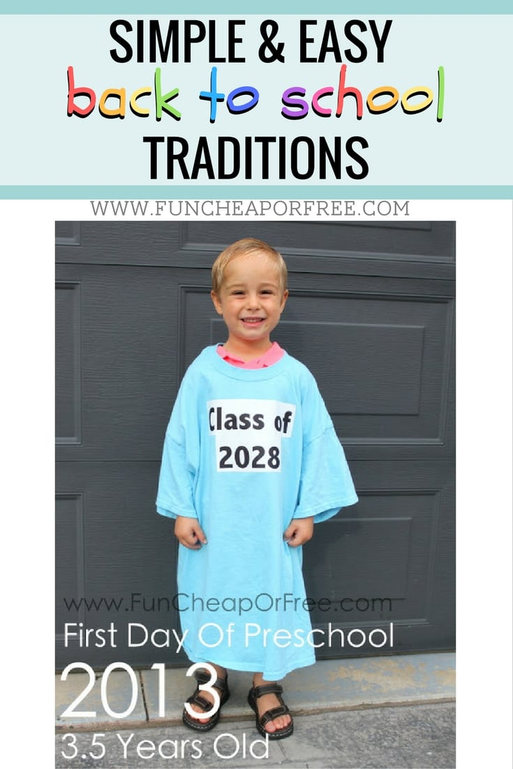 Simple, cheap & easy back to school traditions that you can throw together in a pinch. www.FunCheapOrFree.com