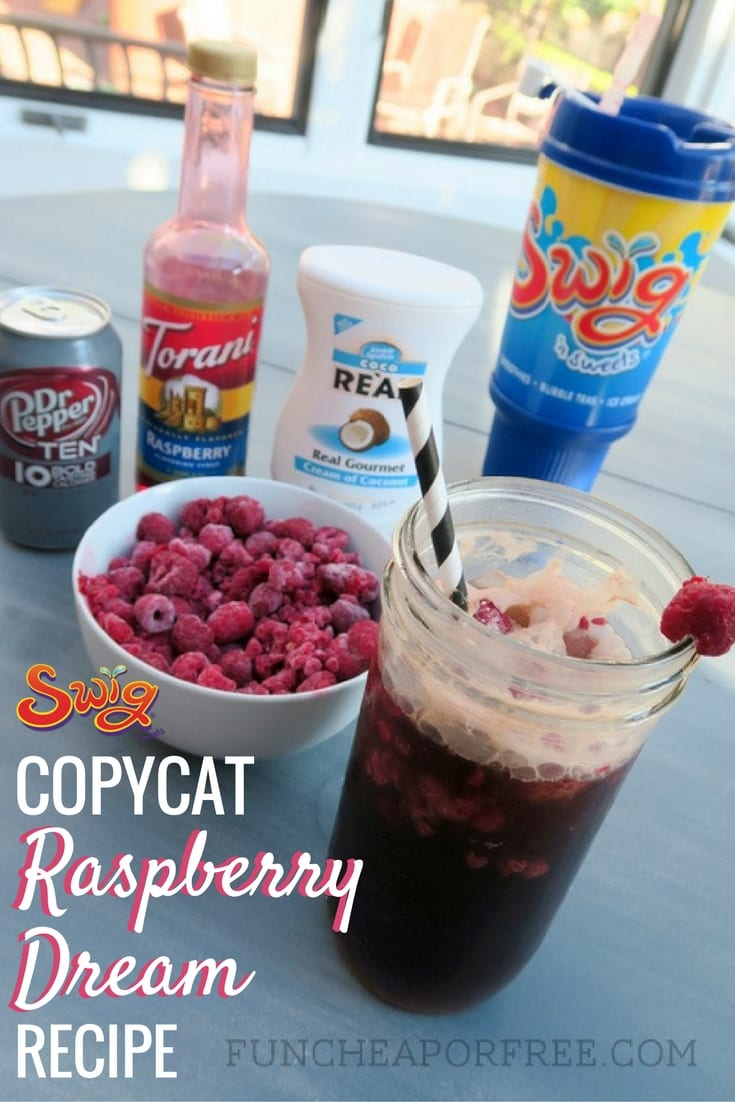 DIY copycat recipe to make Swig's Raspberry Dream Drink at home! Non-alcoholic, easy to make, and so refreshing! All things you can find at your grocery store! www.FunCheaporFree.com