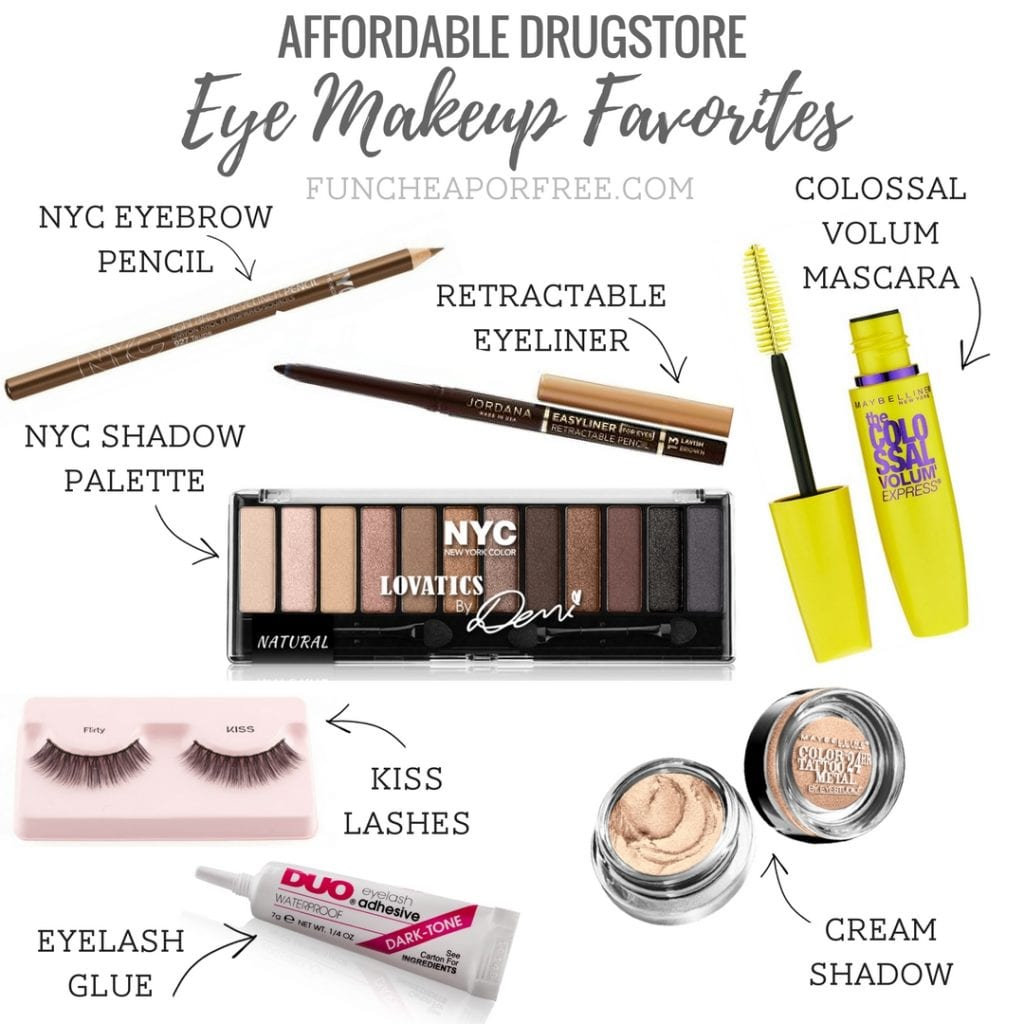 My favorite drugstore makeup finds! See my list of affordable products that work as good as the expensive brands! www.FunCheapOrFree.com