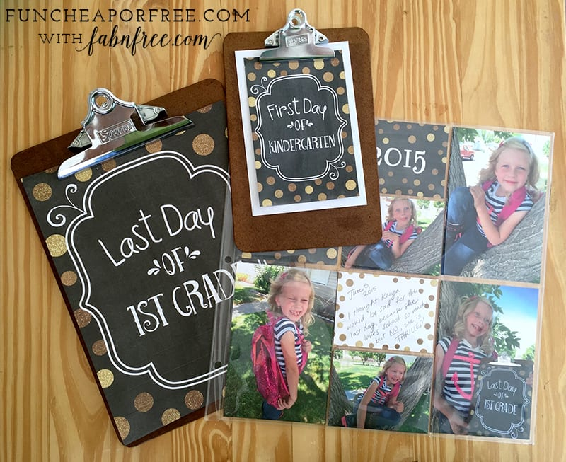 Easy back to school tradition! Printable signs to hold for a photo the first, and last days of school! Cute, easy, and fun! Get the printables, www.FunCheapOrFree.com