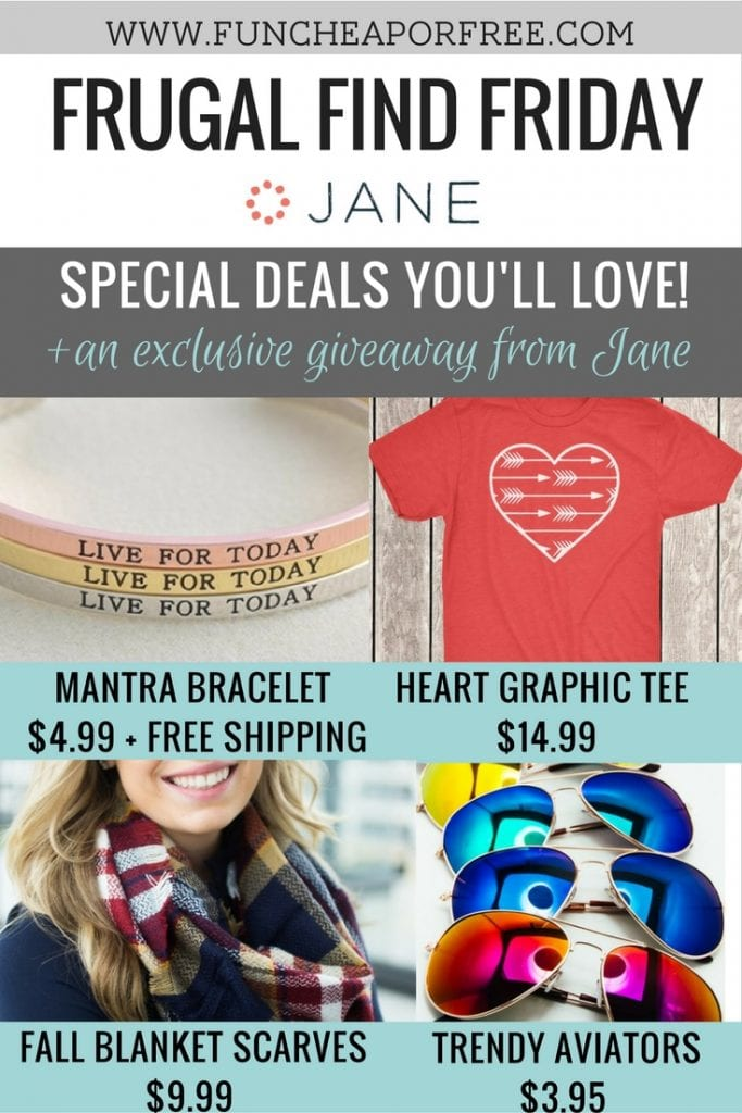 Motivational mantra bracelets, stylish heart tees, cozy fall blanket scarves and trendy aviator sunglasses -- see our picks for Frugal Finds Friday at www.FunCheapOrFree.com!