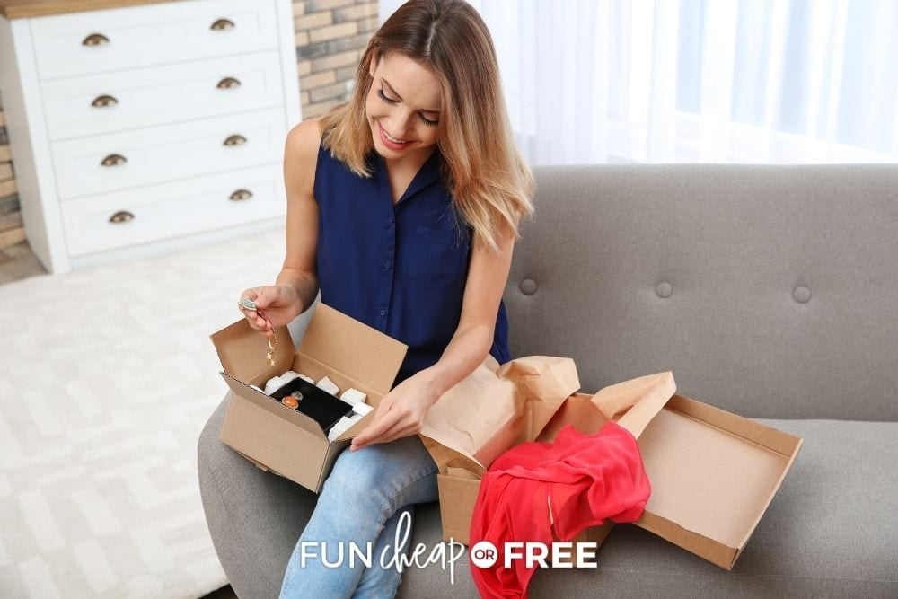 woman unboxing druzy jewelry, from Fun Cheap or Free