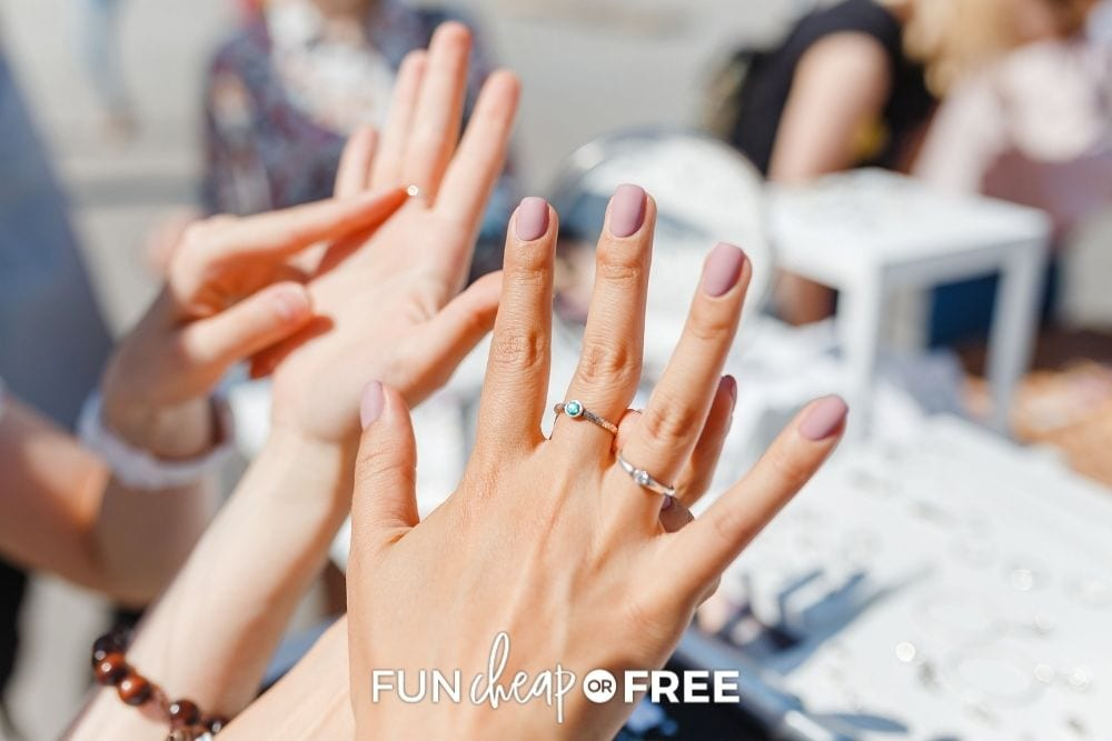 women trying on rings at store, from Fun Cheap or Free
