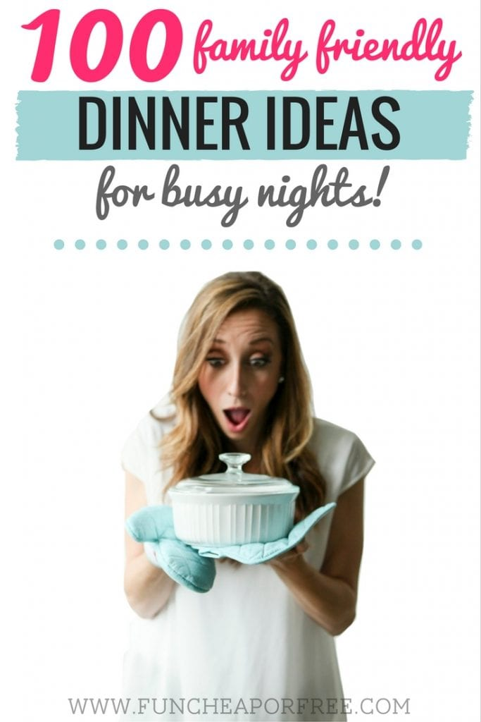 "Need new ideas to freshen up your menu? Get 100 Family Friendly Dinner Ideas for Busy Nights! Includes a free printable to keep in your pantry so you'll never have to wonder ""What's for dinner?"" again! www.FunCheapOrFree.com"