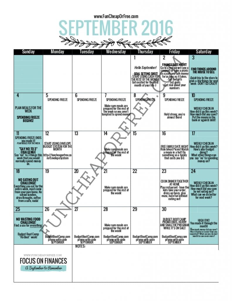 "printable ""focus on finances month"" calendar! Amazing! School has started, summer is over... time to get our budgets back on track, and kickstart our savings for the holiday season! Join me for Focus on Finances Month, and lets have a September to Remember! www.FunCheapOrFree.com"