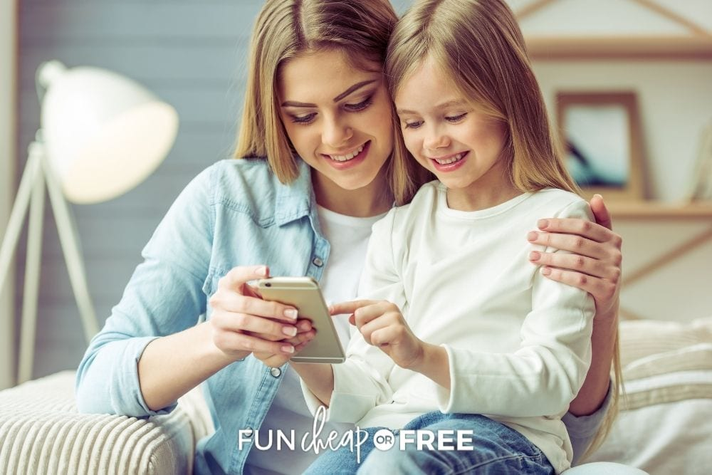 mom and daughter using an app, from Fun Cheap or Free