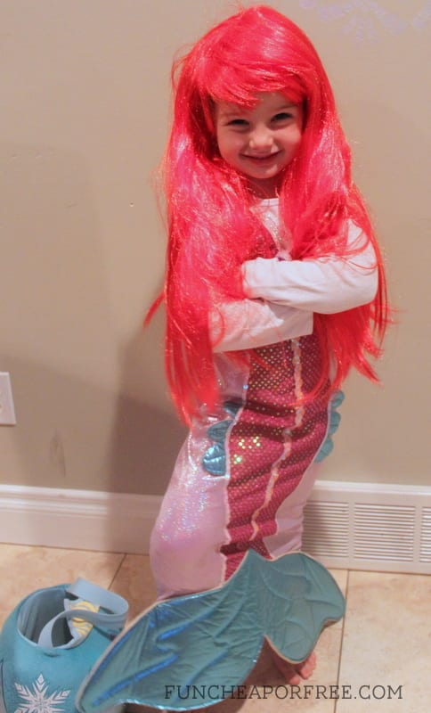 DIY Little Mermaid Costumes for the entire family! Get ideas, and inspiration to transform into Ariel, Ursula, King Triton, and more! www.FunCheapOrFree.com