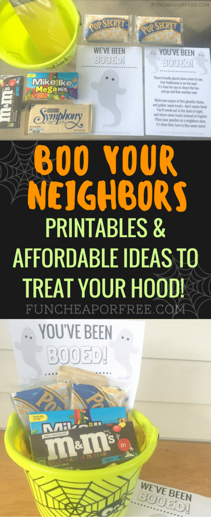 Boo your neighbors, and ring in the Halloween season! Gather a few treats, pack up the kids, and ring a few doorbells! Get the printables at www.FunCheapOrFree.com