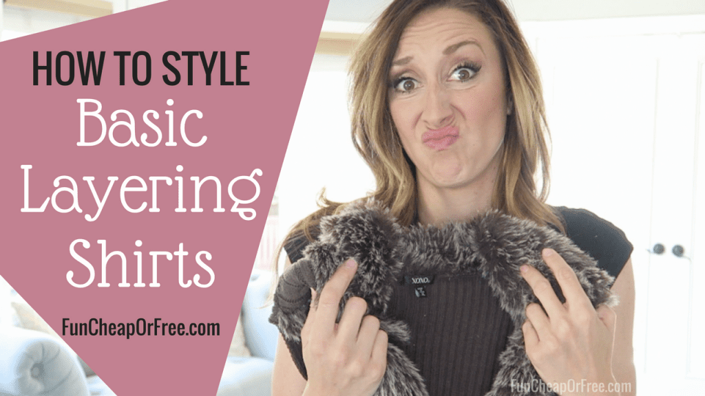 Basic layering shirts are a staple in my closet! See how I style basic layering shirts, and how I wear one under everything! www.FunCheapOrFree.com