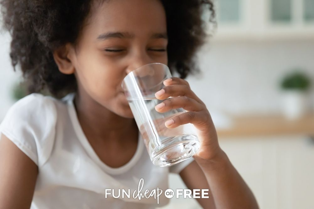 little girl drinking a glass of water, from Fun Cheap or Free