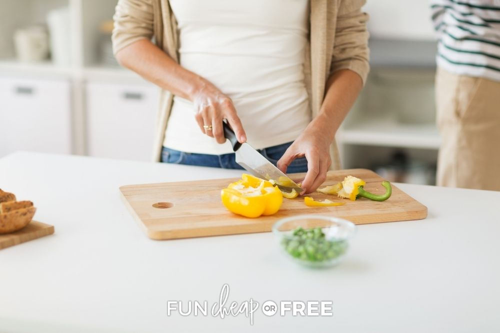 mom chopping veggies for healthy meal, from Fun Cheap or Free