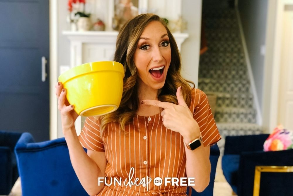 Jordan Page holding yellow bowl, from Fun Cheap or Free