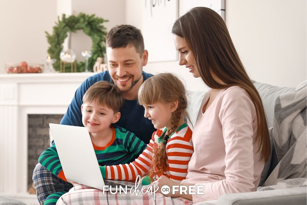 family playing computer games on Christmas, from Fun Cheap or Free