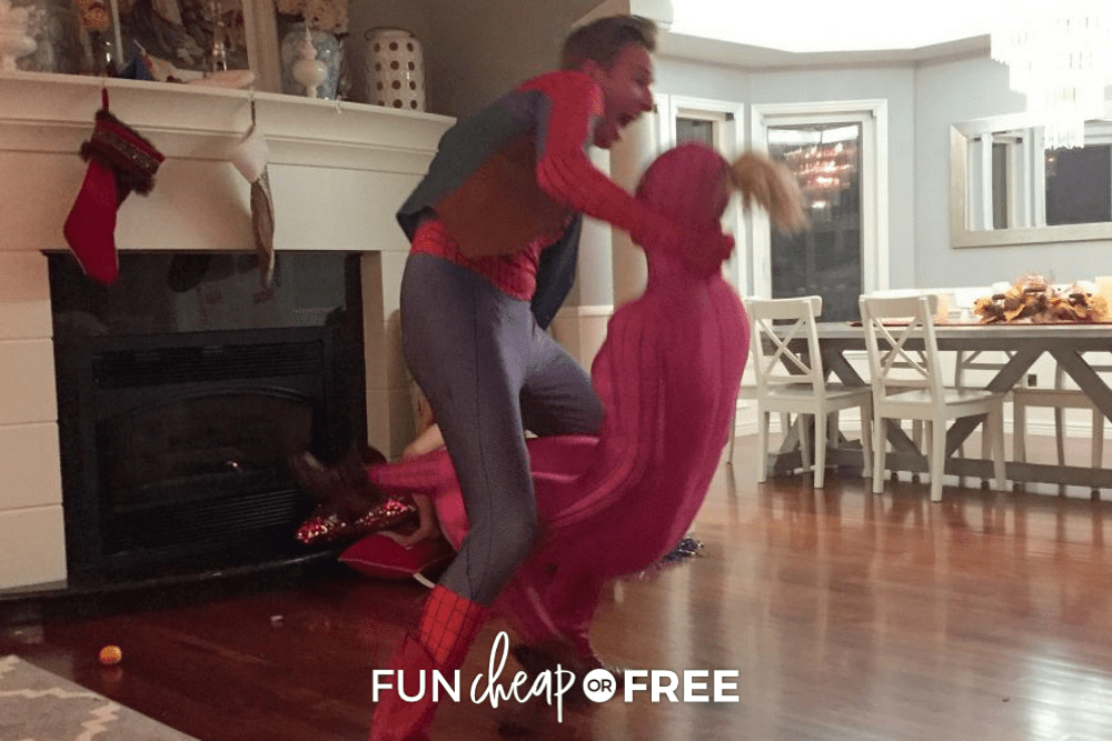 man dressed as spider-man dancing in a holiday talent show, from Fun Cheap or Free