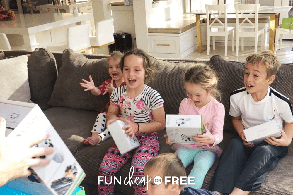 kids excited about a game console, from Fun Cheap or Free