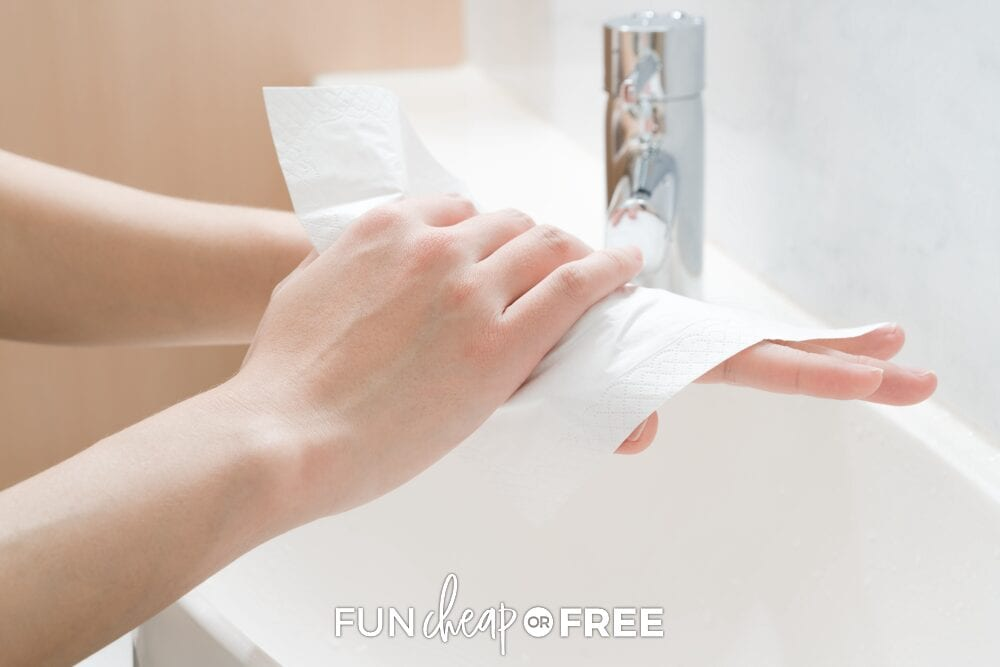 Hands drying off with paper towels, from Fun Cheap or Free