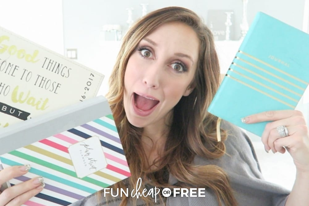 Jordan holding her to-do book, from Fun Cheap or Free