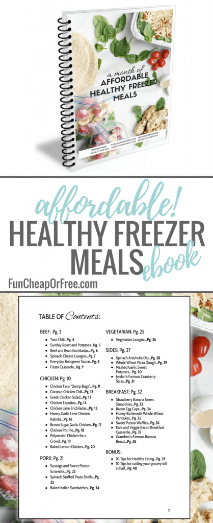 A FREE ebook to bring you an entire MONTH of healthy, affordable, oh-so-delicioso freezer meals, as well as healthy eating and meal planning tips. Freezer meals will save your life! They save you time, money, and brain space.