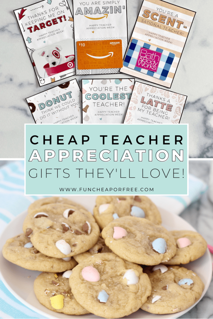 "Image with text that reads ""cheap teacher appreciation gifts"" from Fun Cheap or Free"