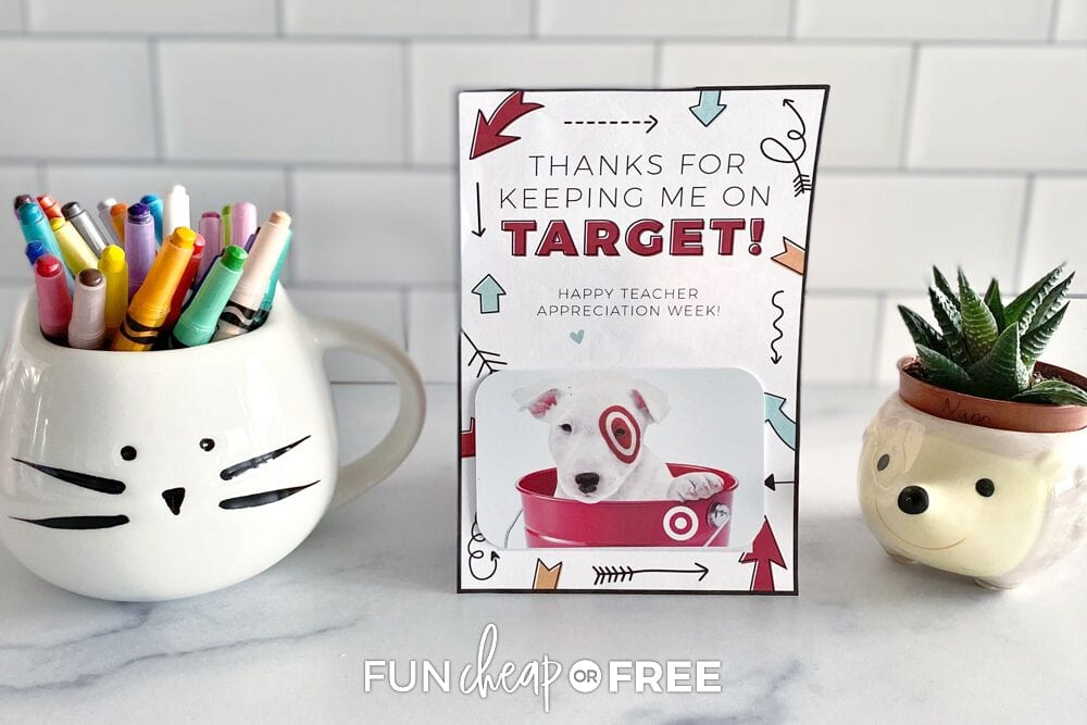 teacher appreciation gifts and printable on a counter, from Fun Cheap or Free