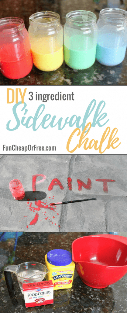 DIY 3 Ingredient Sidewalk Chalk Paint | FunCheapOrFree.com