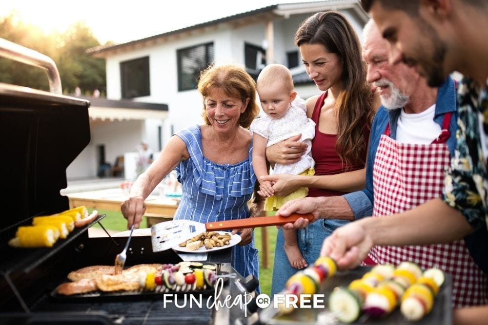 family grilling in yard, from Fun Cheap or Free