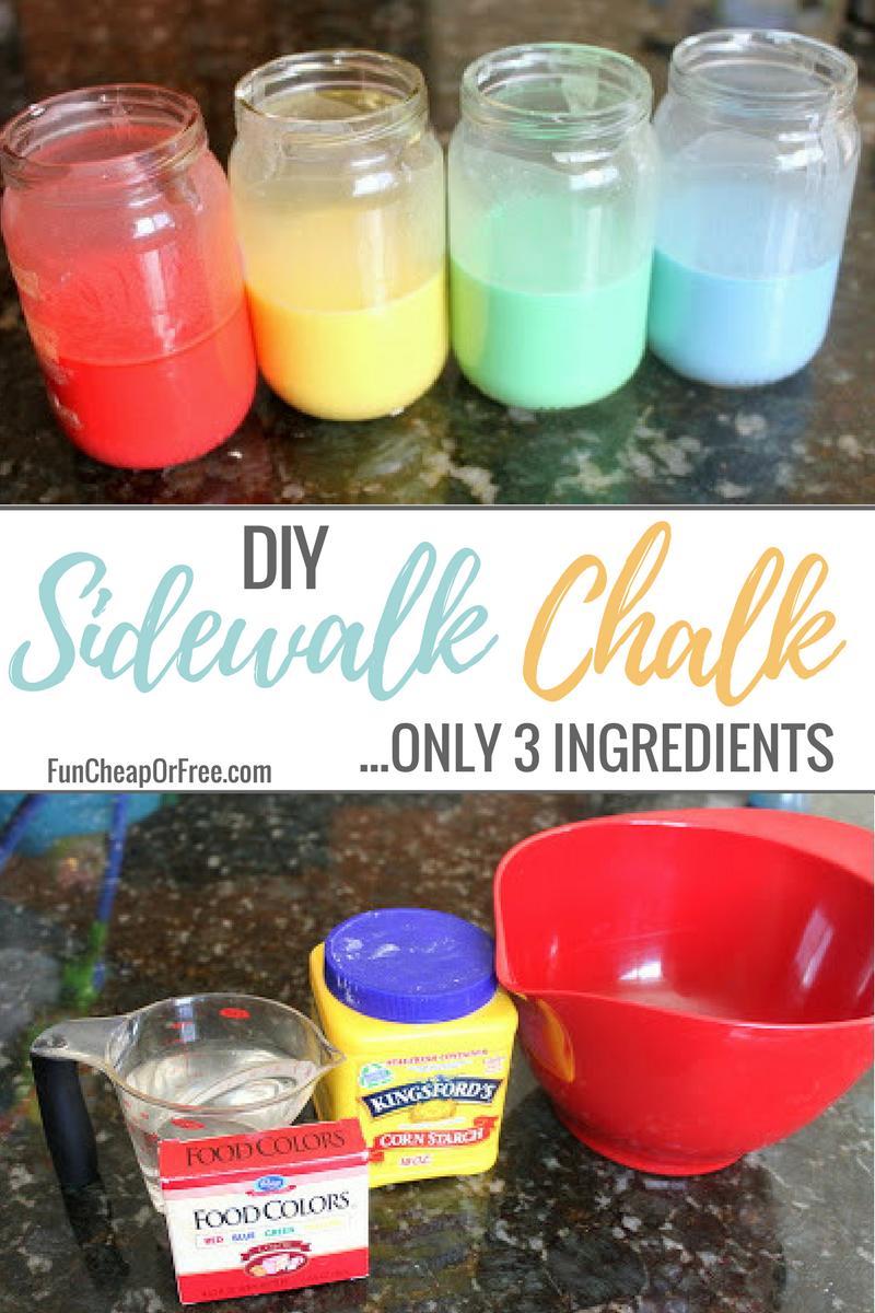 DIY 3 ingredient Sidewalk Chalk