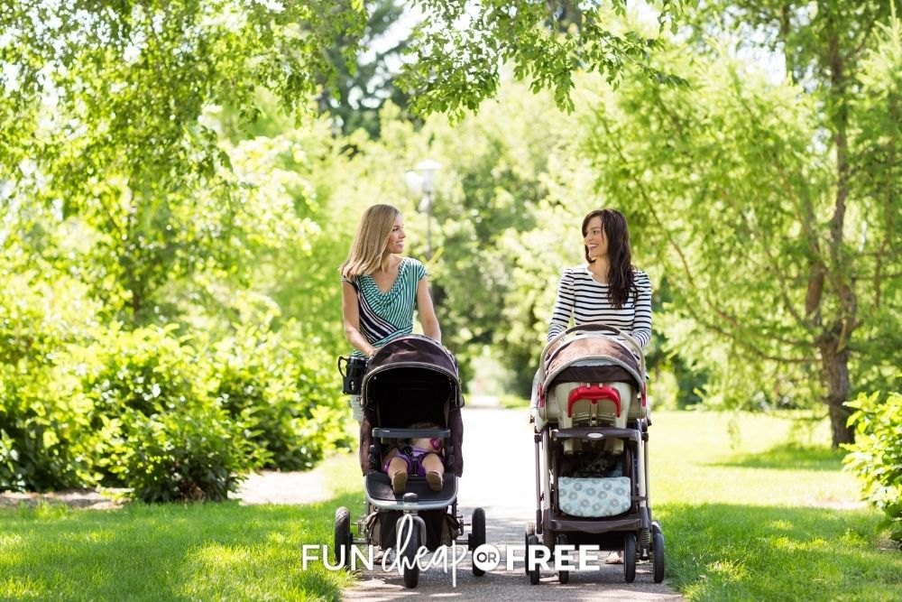 moms walking babies in strollers, from Fun Cheap or Free