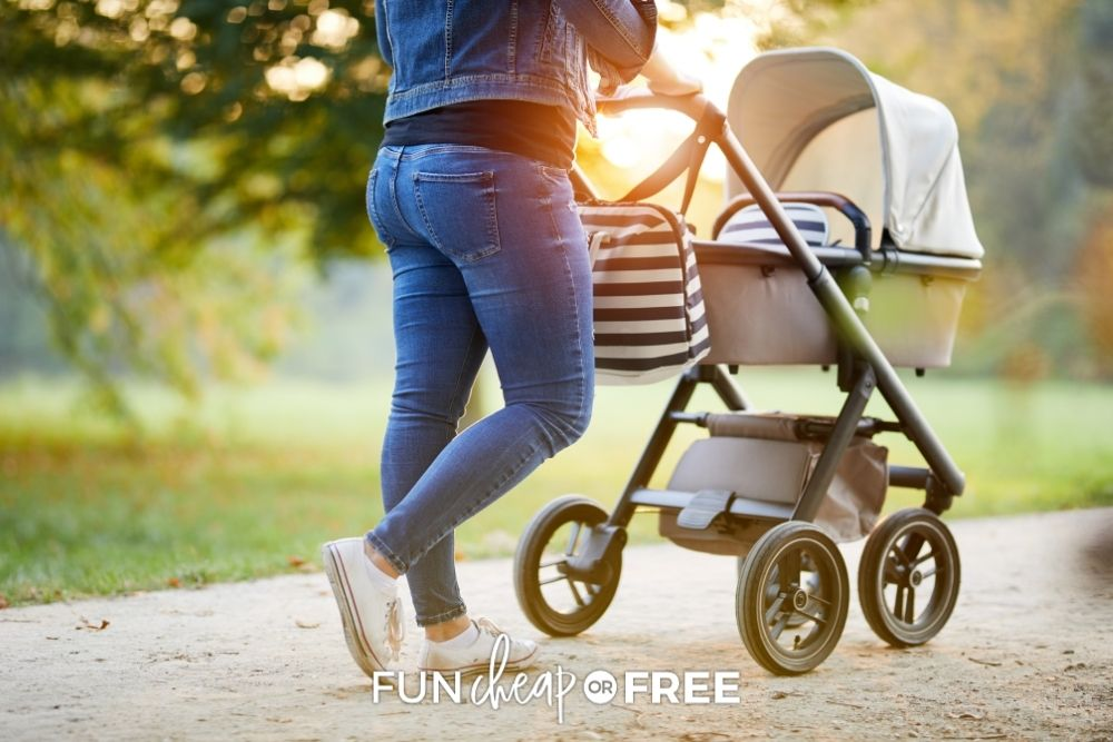 mother walking her baby in stroller, from Fun Cheap or Free