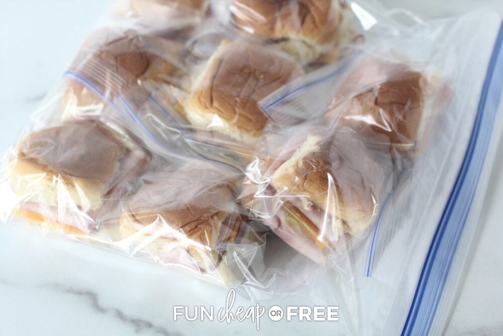 Frozen sandwiches in a baggie, from Fun Cheap or Free