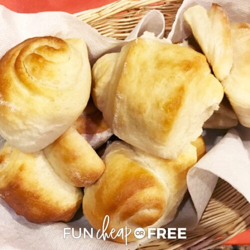 Honey butter rolls in a basket, from Fun Cheap or Free