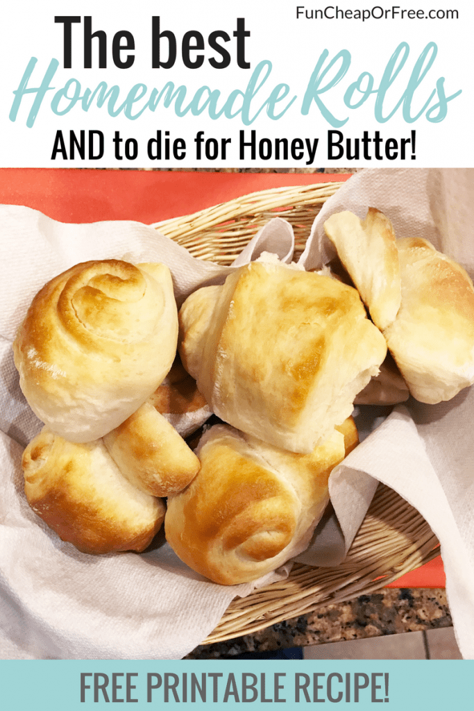 The Best Homemade Roll recipe plus to die for Honey Butter from FunCheapOrFree.com