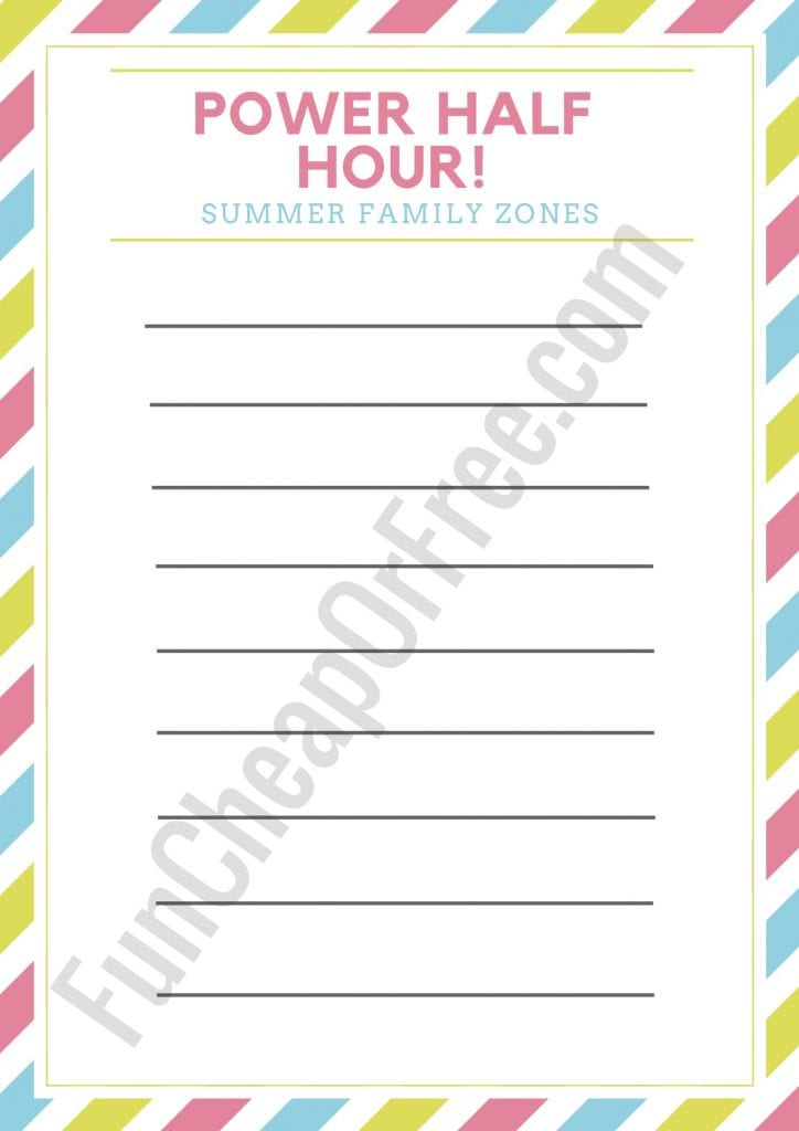 """FAMILY CHORE ZONES"" printable for summer - such a sanity saver!! With video instructions. GAME CHANGER FOR SURE!"