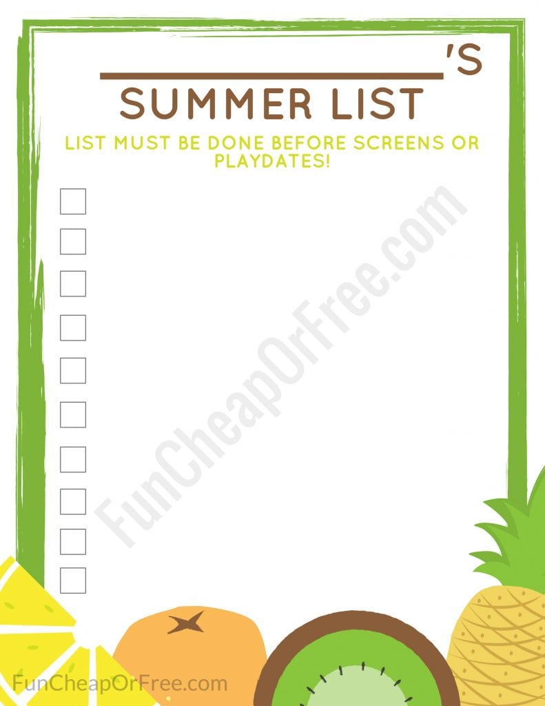 graphic regarding Summer Chore Chart Printable known as 3 Summer time Packages in the direction of Preserve your Sanity! Cost-free PRINTABLES