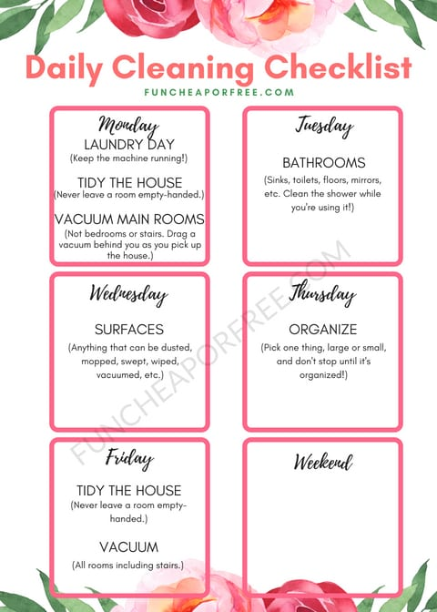 How to deep clean your house one daily task at a time with a free printable checklist from funcheaporfree.com!