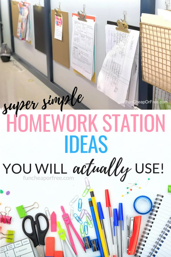 Super simple tips for a KILLER homework station in your home! Doesn't have to be complicated! From FunCheapOrFree.com