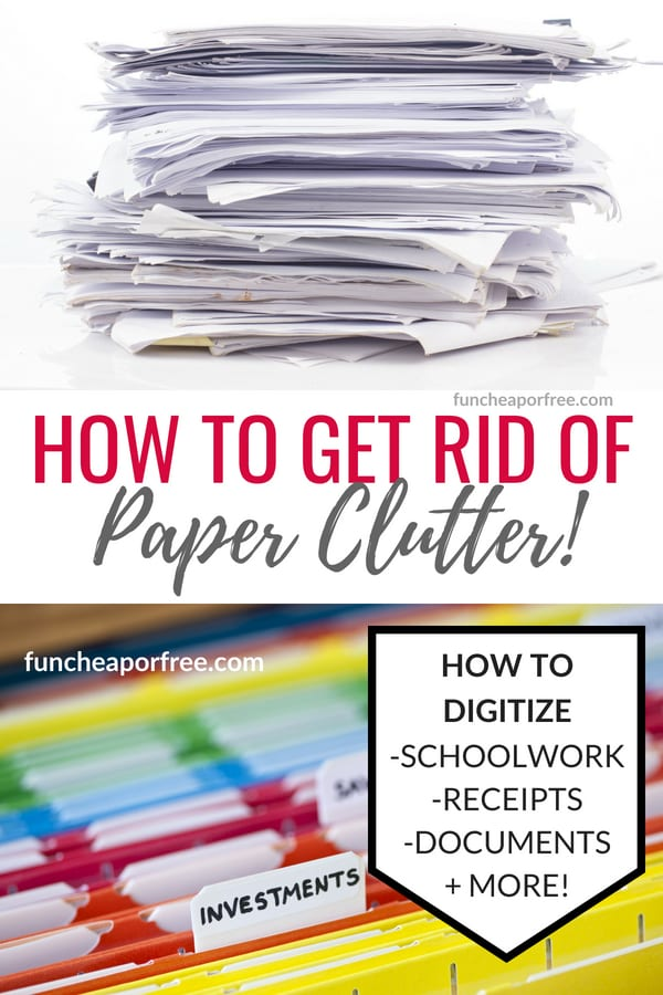 How to digitize schoolwork, receipts, and documents to cut down on paper clutter from funcheaporfree.com!