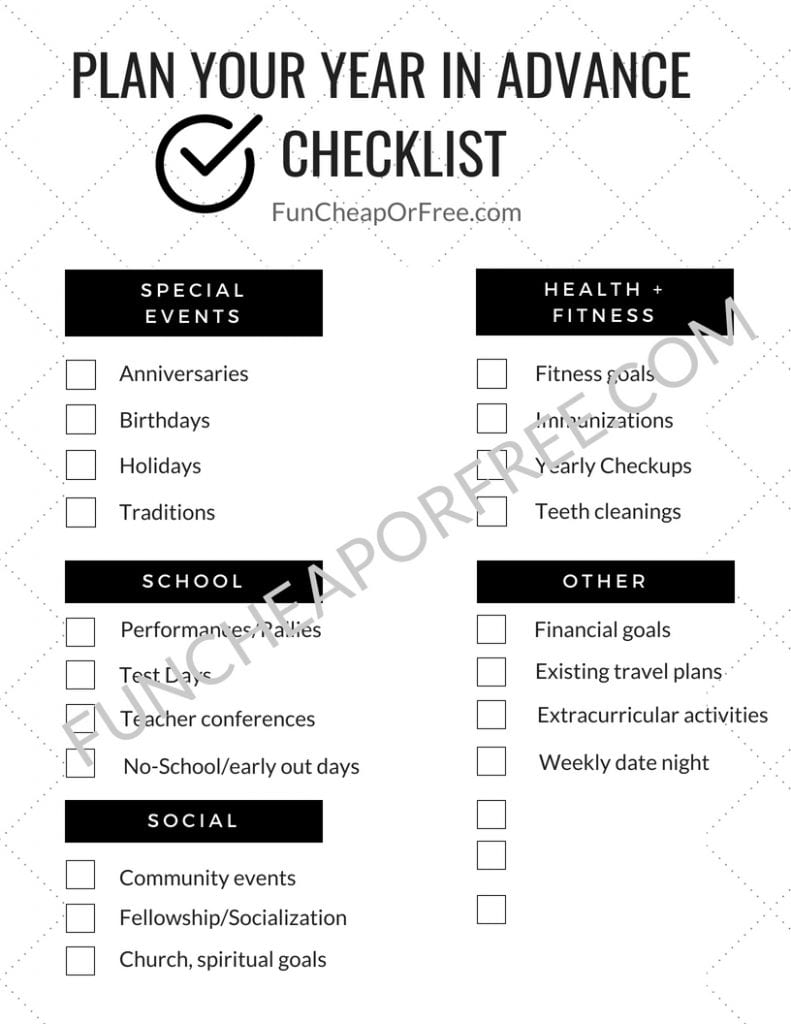 GAME CHANGER!!!!! How to plan a successful year in advance with a free printable from funcheaporfree.com!