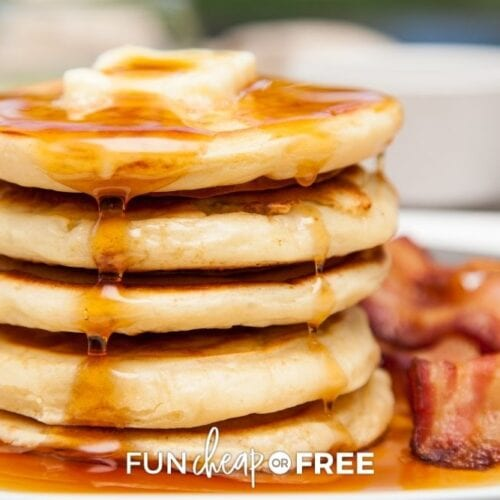 stack of apple ring pancakes with bacon, from Fun Cheap or Free