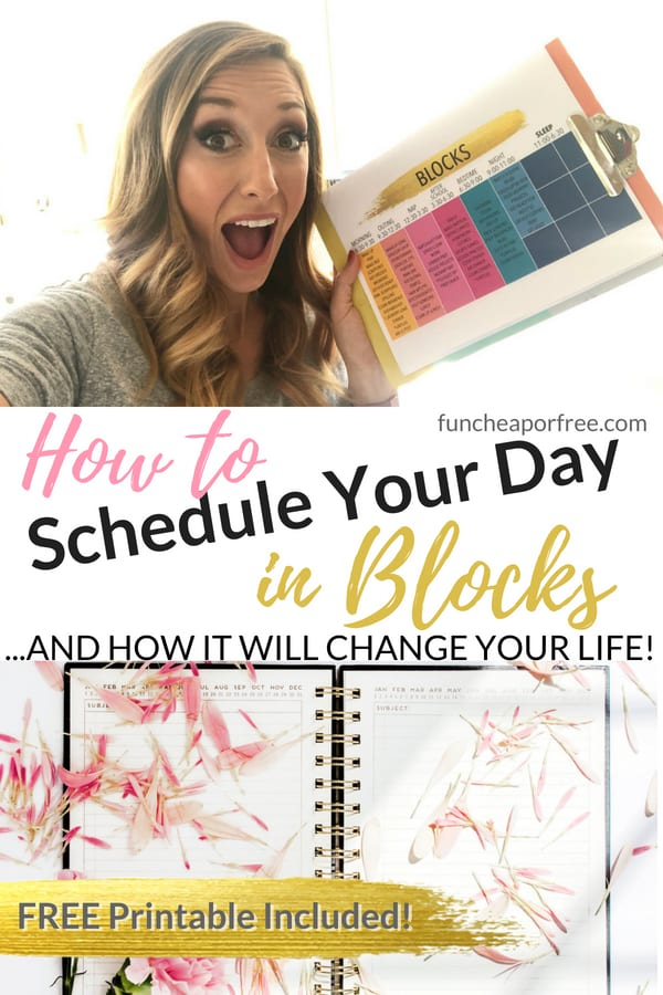 OH MY LIFE-CHANGING! The Block Schedule System; how to schedule your day in blocks. This has seriously changed EVERYTHING for me! Such a simple concept! Video and free printable included! From FunCheapOrFree.com