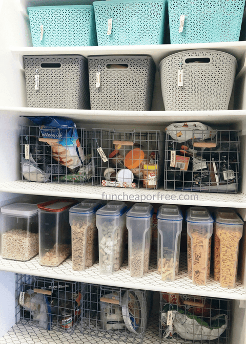 When we first moved in to our new house two years ago, one of the things I knew I wanted to work on right away was our pantry.  Not knowing where anything is, especially food is something I hate.  Mostly because I have so many mouths to feed and tummies to keep full; and let me tell you, when you can't find that fruit snack your toddler has their hear set on, the results can be frightening.  Geesh!  Our pantry set up is simple; and that's just the way I like it.  Everything looks nice, has a place, and can be easily accessed.  Here's what it looks like: