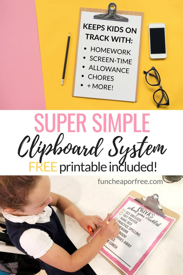 school year clipboard system to help your kids stay on task with homework, reading, after school chores, and so much more! From funcheaporfree.com