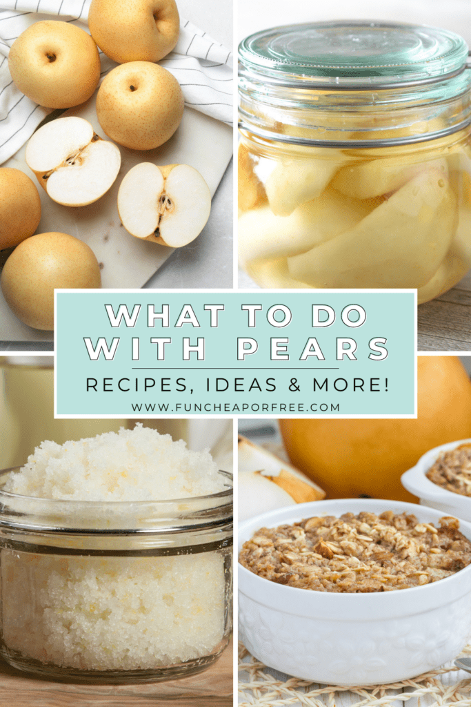 """Image with text that reads """"what to do with pears"""" from Fun Cheap or Free"""