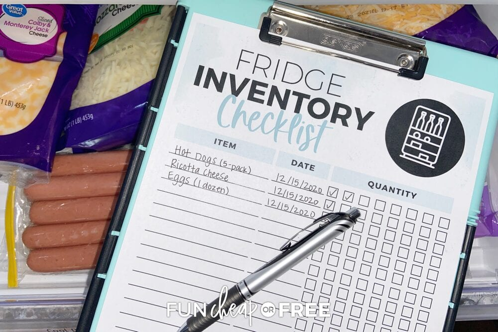 Fridge inventory printable checklist from Fun Cheap or Free